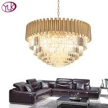 Youlaike Top luxe moderne lustre Cristal lumière salon salle à manger or acier luminaires LED Lustres De Cristal