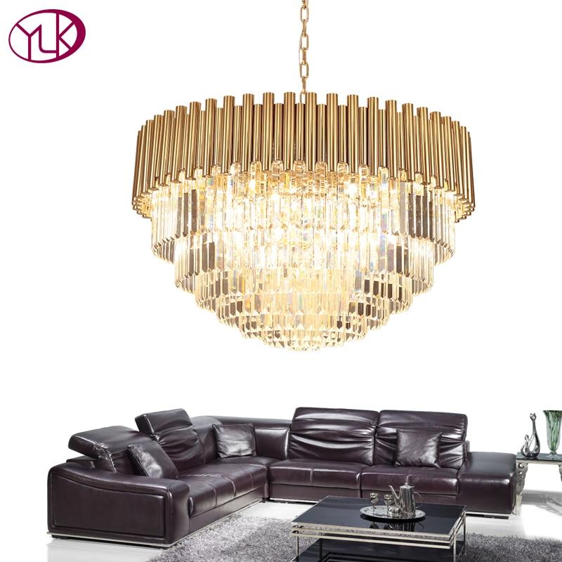 Youlaike Top de Luxo Moderna Candelabro de Cristal de Luz Sala de estar Sala de Jantar LED Lustres De Cristal Luminárias de Aço Ouro