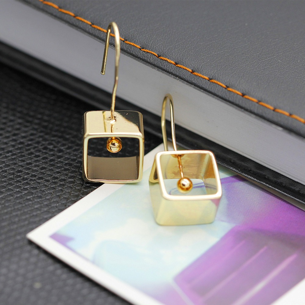 Design geometry elements tetragonal eardrop pendant earrings copper contracted exaggerated punk atmospheric stud earrings