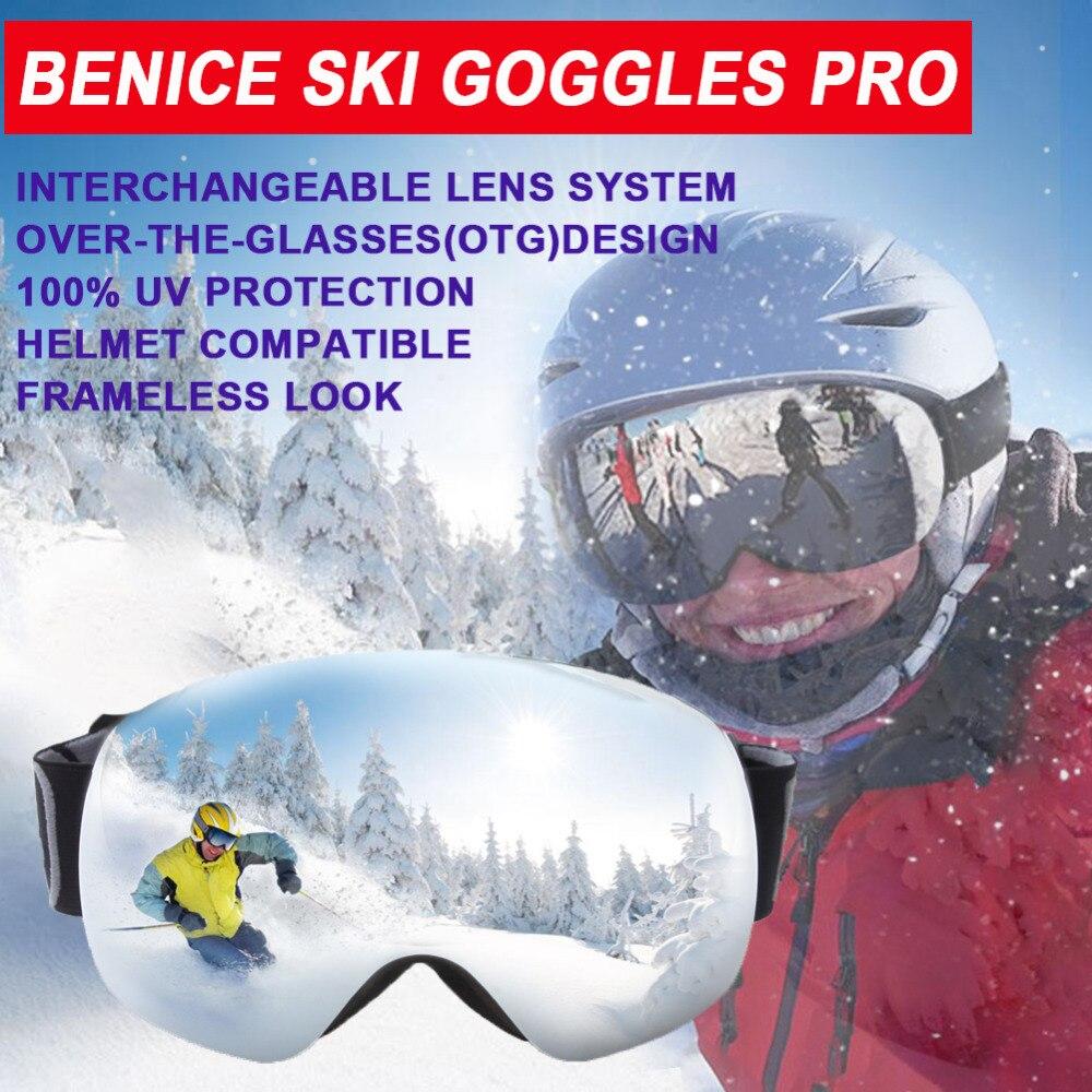 Benice лыжные очки, снег сноуборд очки с анти-туман УФ-защита OTG защиты объектива для Снег Катание Лыжный Спорт