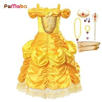 f3e83fb61ab3491 PaMaBa/платье принцессы Белль для девочек Карнавальный костюм детская  одежда для свадьбы, хеллоуин, вечерние бальные платья fille