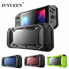 IVYUEEN Heavy Duty for Nintend Switch Games Console Slim Rubberized Hard Case Cover Shell with Stick Grips Tempered Glass Film