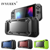 IVYUEEN Heavy Duty For Nintend Switch Games Console Slim Rubberized Hard Case Cover Shell With Stick