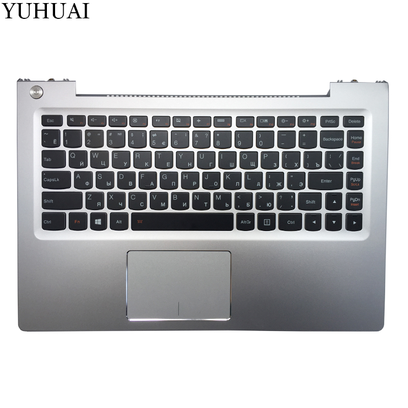 NEW RU laptop keyboard For Lenovo U330p U330 Russian keyboard with case Palmrest Touchpad silver