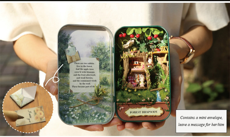 Box Theatre Forest rhapsody Doll House 3D Mini DIY Miniature Wooden Puzzle Dollhouse Furniture Decoration Toy for Birthday Gift  (8)