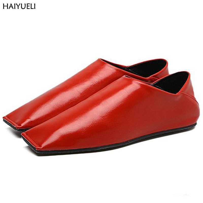Zapatillas Mujer Casual Red Flat Shoes Fashion Black Square Toe Flats Punk Style Ladies Flat Shoes White Leather Ballet Flats brilliant genuine sheepskin leather flat heel single shoes 2016 spring summer square toe rhinestones black rose red ballet flats