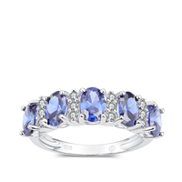 Natural Tanzanite CZ With White Diamond Simulants Sliver 925 Rings for woman