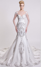 Hand Made Beading Mermaid Wedding Dress Scoop Long Sleeve Applique Crystal Court Train Vestidos De Noiva
