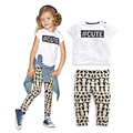 Retail Cute Letter Printed Girls Clothing Set 2016 Brand Short-sleeve T-shirts + Animal Pattern Pants Baby Girl Clothes vetement
