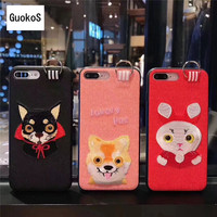 New Cute Cartoon 3D Fabric Embriodery Mobile Phone Housing For IPhone8 8Plus 360 Degree Rotate PET
