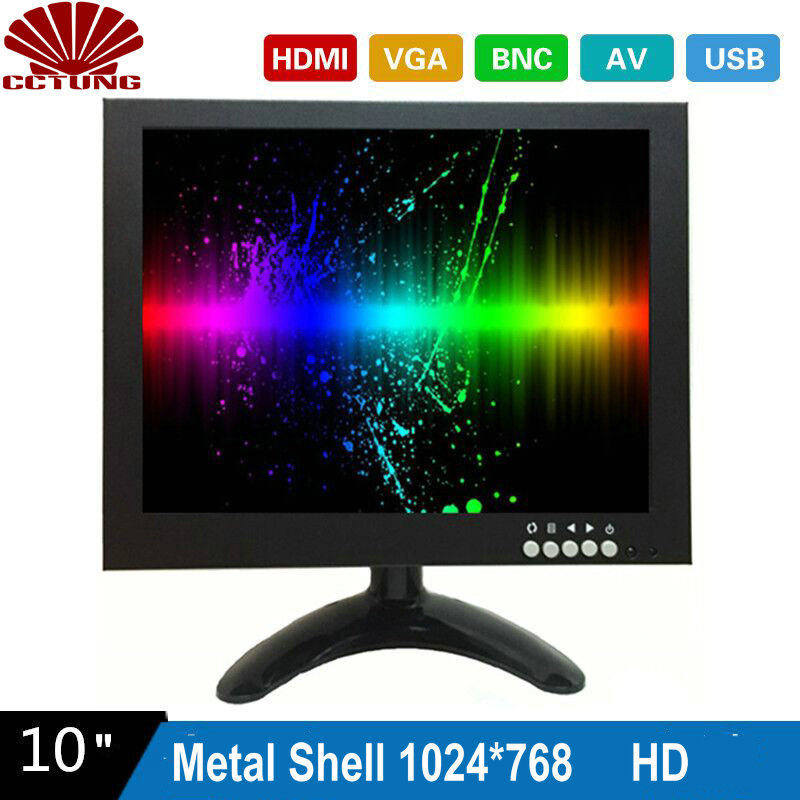 10 Inch 1024X768 HD CCTV Monitor with Metal Shell and HDMI VGA AV BNC Connector for PC Multimedia Monitor Display Microscope Etc