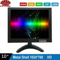 10 zoll 1024X768 HD CCTV Monitor mit Metall Shell und HDMI VGA AV BNC Stecker für PC Multimedia monitor Display Mikroskop Etc