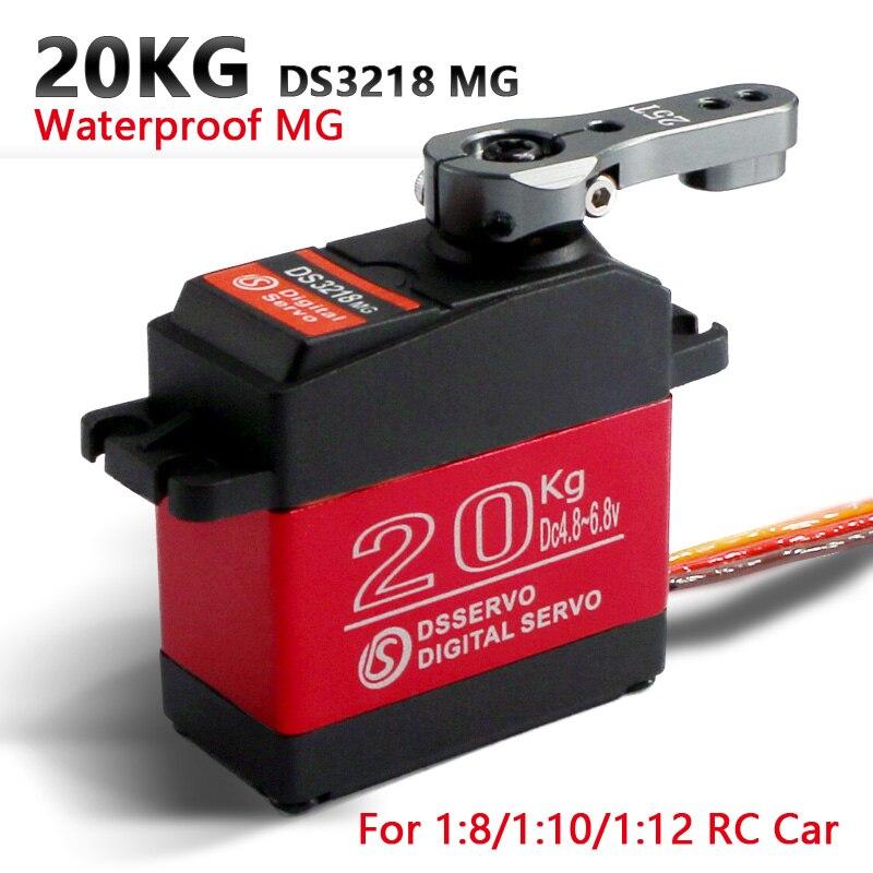 1 X servo À Prova D' Água DS3218 Atualizar e PRO alta velocidade metal gear servo digital servo baja 20 KG/. 09S para 1/8 Carros RC 1/10 Escala