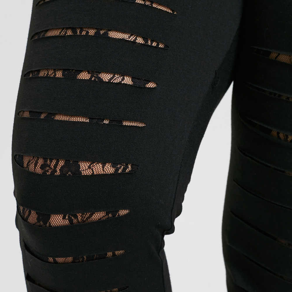 2b87731bd2 Wipalo Plus Size 5XL Lace Trim Ripped Leggings Women Fashion Skinny Mid  Elastic Waist Ladder Cut Out Leggings Fitted Trousers