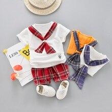 2PCS Infant Baby Boy Scarf Top + Plaid Short Pant Kids Outfits Cotton Boys Clothes Children Clothing Sets