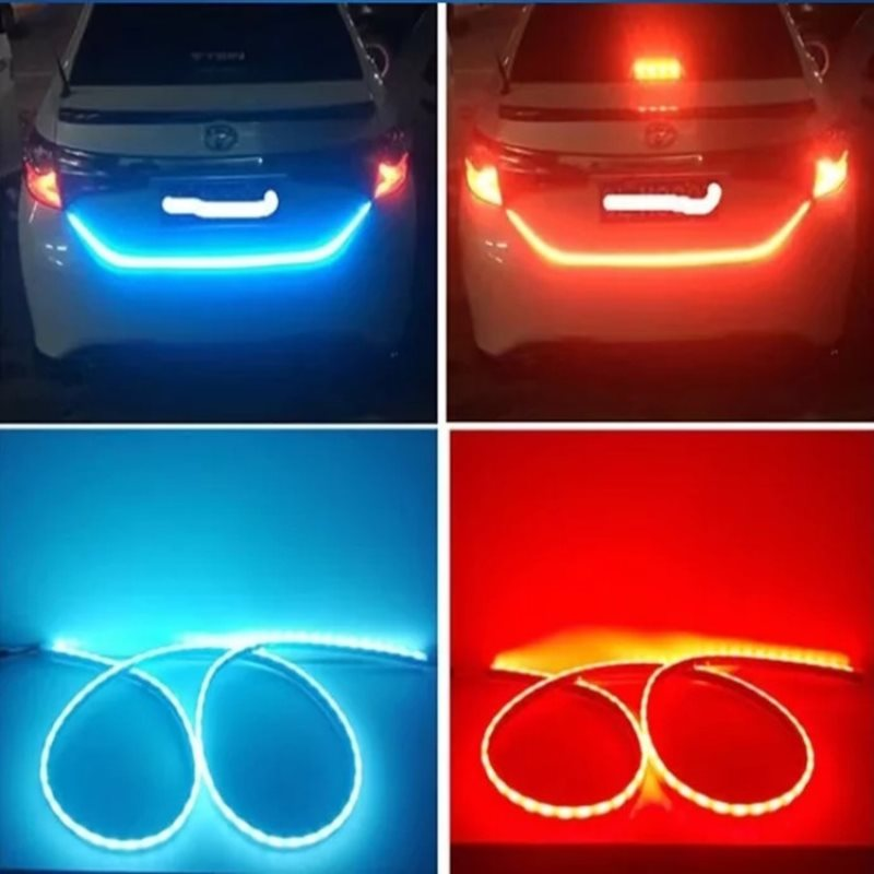 Ice Blue Red Flexible Flow LED Strip Trunk Light Rear Tail Brake Lamp Dynamic Turn Signal LED Streamer Reverse Flash Lights