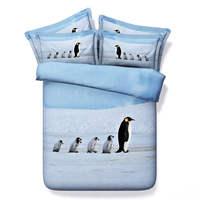 3d bộ đồ giường comforter in đặt quilt/duvet cover bed sheet twin full nữ hoàng king size 500TC dệt Penguins ánh sáng màu xanh màu kid
