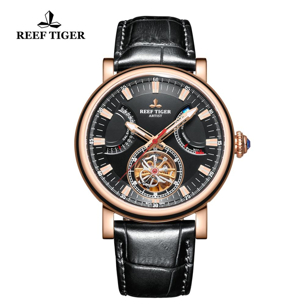 Reef Tiger/RT Automatic Watch for Men Black Dial Leather Strap Watch with Date Day RGA1950Reef Tiger/RT Automatic Watch for Men Black Dial Leather Strap Watch with Date Day RGA1950