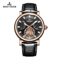 Recife Tigre/RT Relógio Automático para Os Homens Black Dial Leather Strap Watch com Data Dia RGA1950(China)