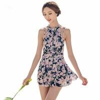 Najwyższej Jakości Strój Kąpielowy dla Kobiet Kobieta 2017 Floral Print Wysoka Neck One Piece Kostium Kąpielowy Kostiumy Kąpielowe Dziewczyny Słodkie Spódnica Stroje Kąpielowe