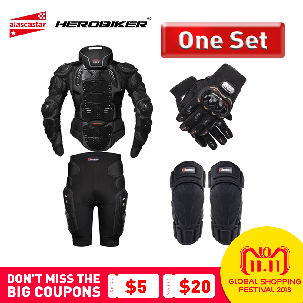 HEROBIKER Motorcycle Armor Protection Body Armor Protective Gear Motocross Moto Jacket Motorcycle Jackets With Neck Protector недорго, оригинальная цена