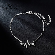 Todorova Medical Heartbeat Arrow Bracelets for Nurse Doctor Gift ECG Chain Link Women Bracelet Bangle for Lovers Accessories цены