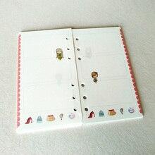 40 листов/лот A7 свободные блокнот со съемными листами пополнения спираль связующего планировщик внутренняя страница внутри детские школьные принадлежности