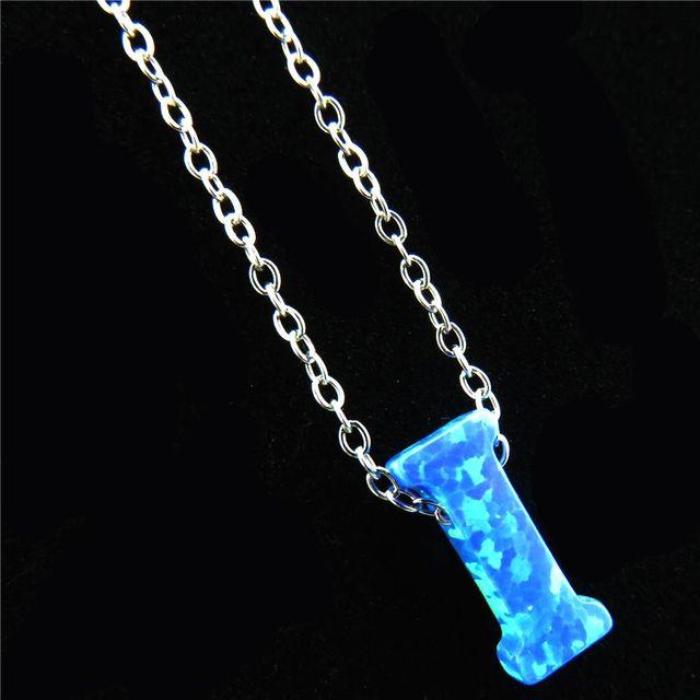21651 Creative Alphabet I Letter Necklaces Pendant Silver Color Blue