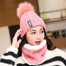 Ski Cap 2018 New Pom Poms Winter Hat for Women Fashion Solid Warm Hats Knitted Beanies