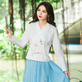 White Color With Simple Embroidery Long Sleeve Cross Design Autumn Spring Women Casual Loose Blouse Shirts