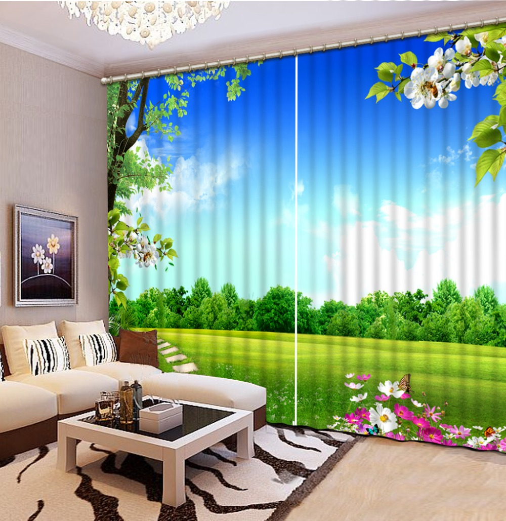 Curtains for living room Green scenery Curtain window room 3D Window Curtains For Bedding roomCurtains for living room Green scenery Curtain window room 3D Window Curtains For Bedding room