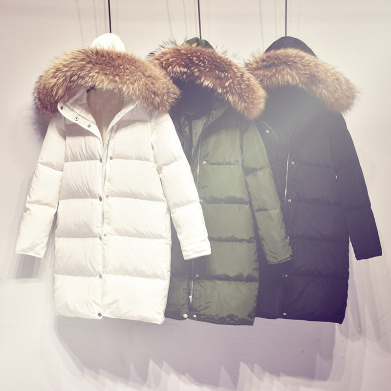 90% White Duck Down Jacket 2018 Female Parkas For Winter Jacket Women Long Parka Raccoon Fur Collar Hood Coat Maternity Clothing цены онлайн