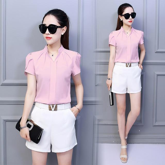 Korean Fashion Womens Tops and Blouses Chiffon Women Blouses Short Sleeve White Shirts Plus Size XXL Ladies Tops 5