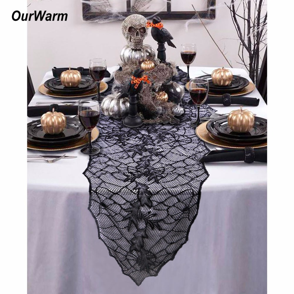 ourwarm 2pcs funny halloween party table cover black leaf table runners for home halloween decorations props party supplies