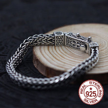 925 серебро браслет Киль сделать старый плоские цепи плетения человека властная Стиль личности подарок вашего любовника панк Настоящее