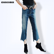 Edencomer New Street Women's Ankle-length Jeans Splice Water Washed Asymmetric Bottom Denim Cropped Jeans 2017 Summer Pants