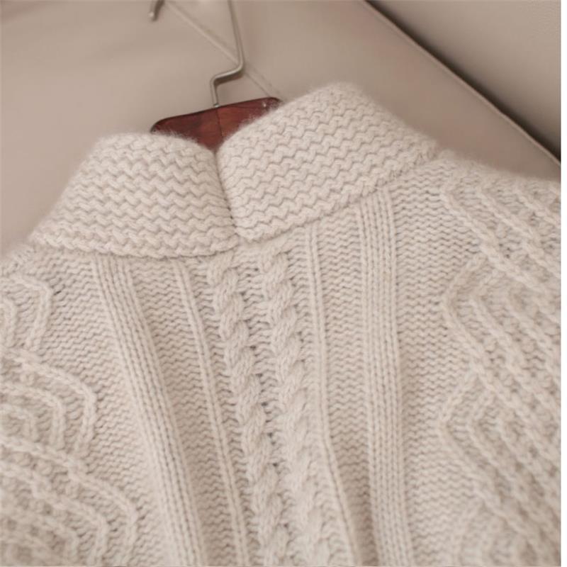Mode Taille Grande Manteau Cardigan Nouveau Cachemire Hiver Gejas Ainyu Pulls Beige 2018 Pull Femmes qRZwp8X