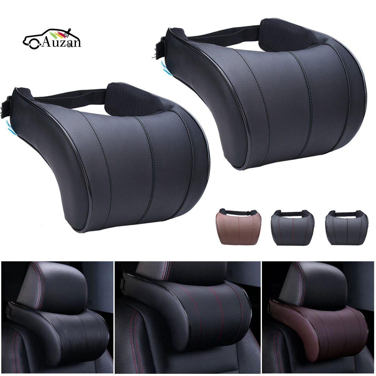 1PCS PU Leather Auto Car Neck Pillow Memory Foam Pillows Neck Rest Seat Headrest Cushion Pad 3 Colors High Quality the space memory cotton car waist cushion summer pillow headrest backrest
