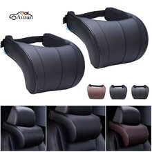 1PCS PU Leather Auto Car Neck Pillow Memory Foam Pillows Neck Rest Seat Headrest Cushion Pad 3 Colors High Quality