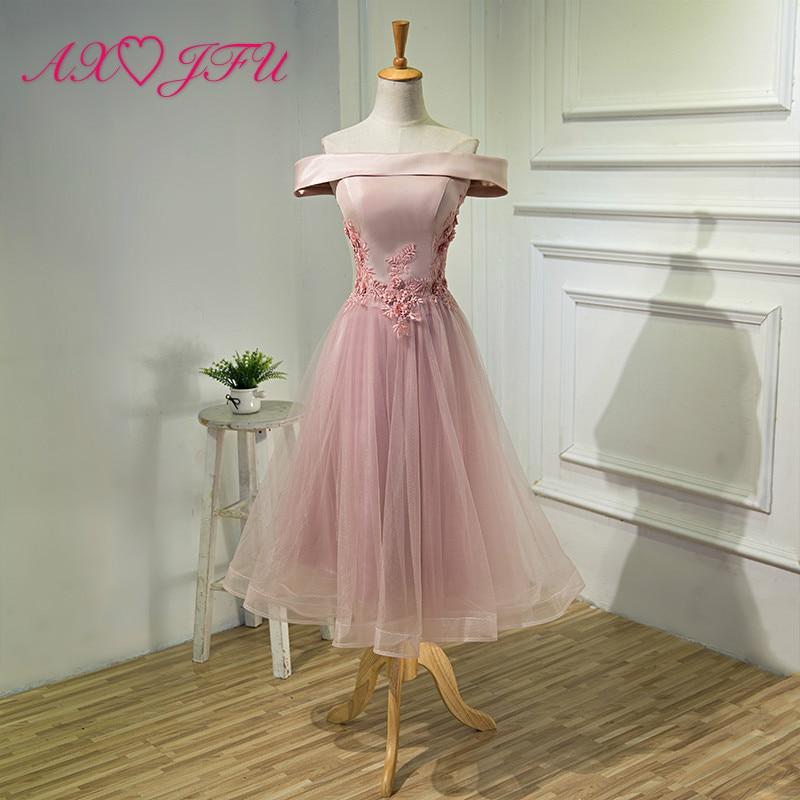 AXJFU Short paragraph of summer, Korean  short pink flower evening dress, long banquet company grey lace evening dress
