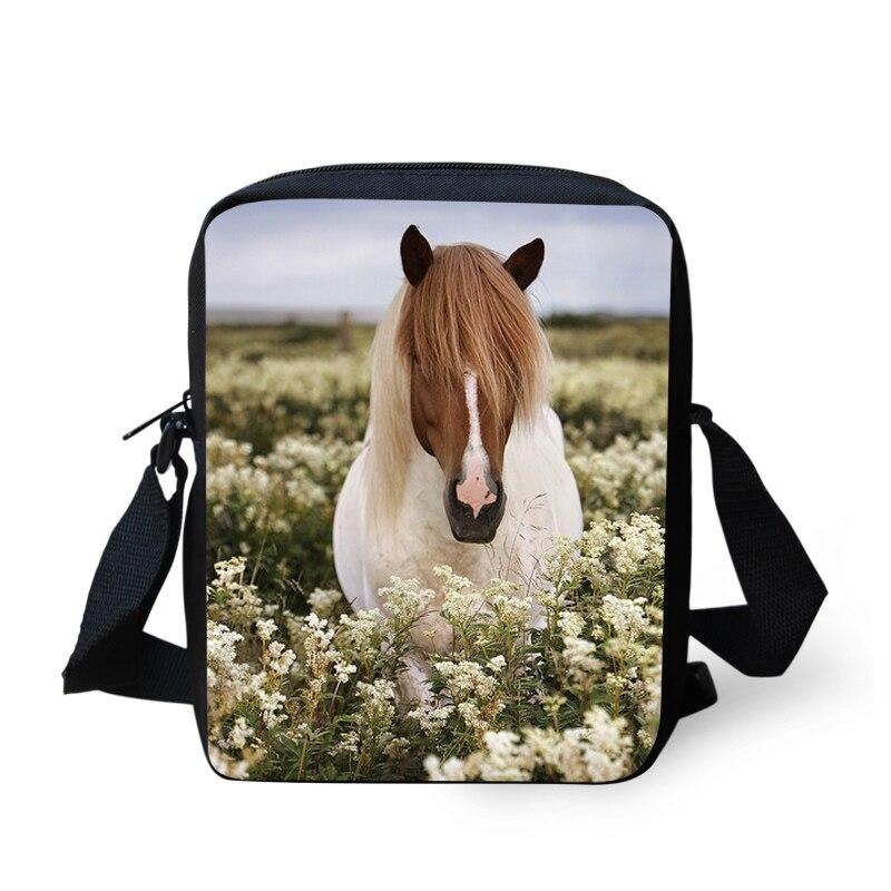 FORUDESIGNS Designer Women Men Messenger Bags Crazy Horse Printing Shoulder Bag Girls Cross Body Bag Messenger-Bag for Woman