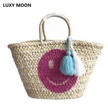 Luxy Moon Pink Smiley-face Tassel Straw Bag 2019 Summer Women Big Handmade Woven Handbag Large Totes Boho Shopping Bags Basket