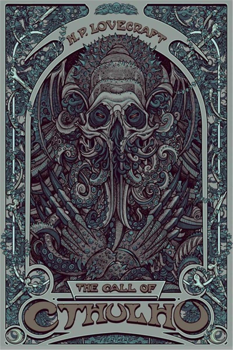 Nordic Dekorasi H P. Lovecraft Cthulhu Dinding Art Lukisan Poster Nouveau Gambar Abstrak untuk Dekorasi Ruang Tamu