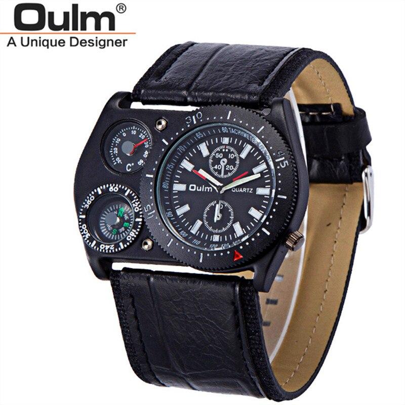 f22c3a759c9 Venda OULM Relógios Homens Grande Estilo Dos Esportes Da Forma Ampla  Pulseira de Couro Bússola Termômetro Relógio de Quartzo Reloj Hombre  Deportivo Grande