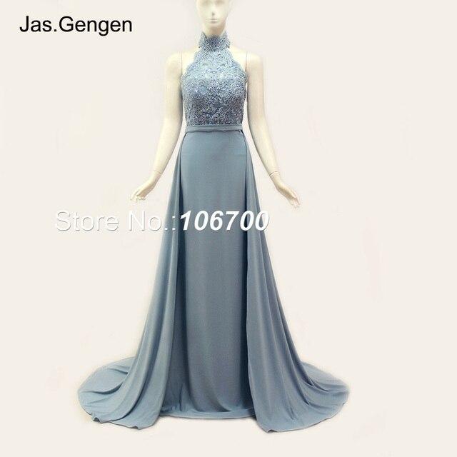 7831b7b28 Sirena vestidos de fiesta vestidos cola desmontable Hater cuello alto  Backless largo partido vestidos de noche