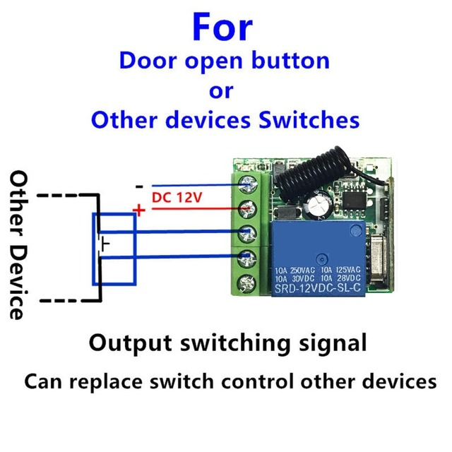 433 Mhz Universal Wireless Remote Control Switch DC 12V 1CH Relay Receiver Module and RF Transmitter Electronic Lock Control Diy
