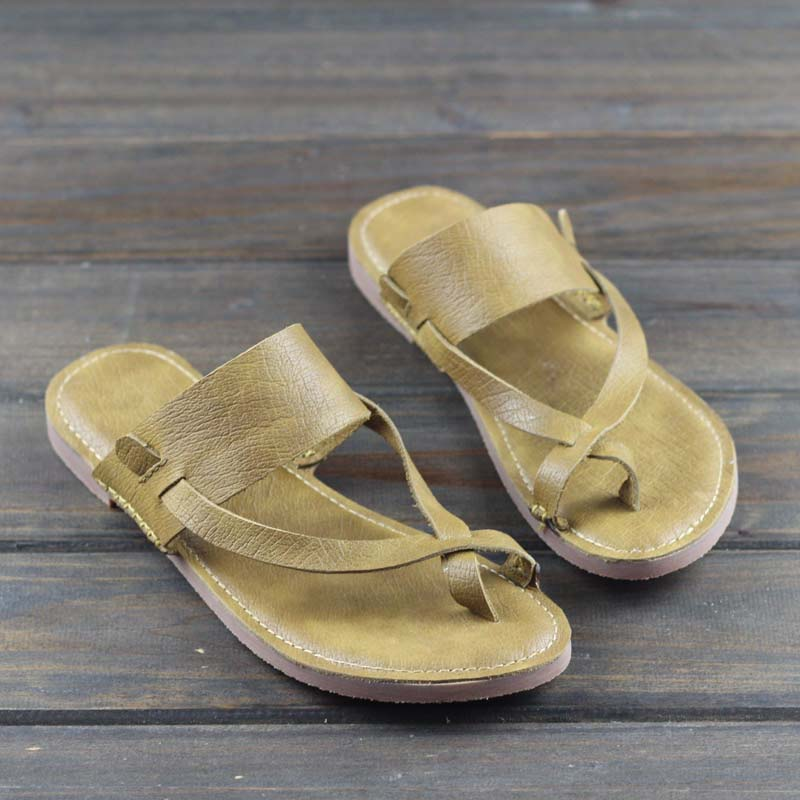 2019 new summer first layer cowhide retro flat sandals and slippers2019 new summer first layer cowhide retro flat sandals and slippers