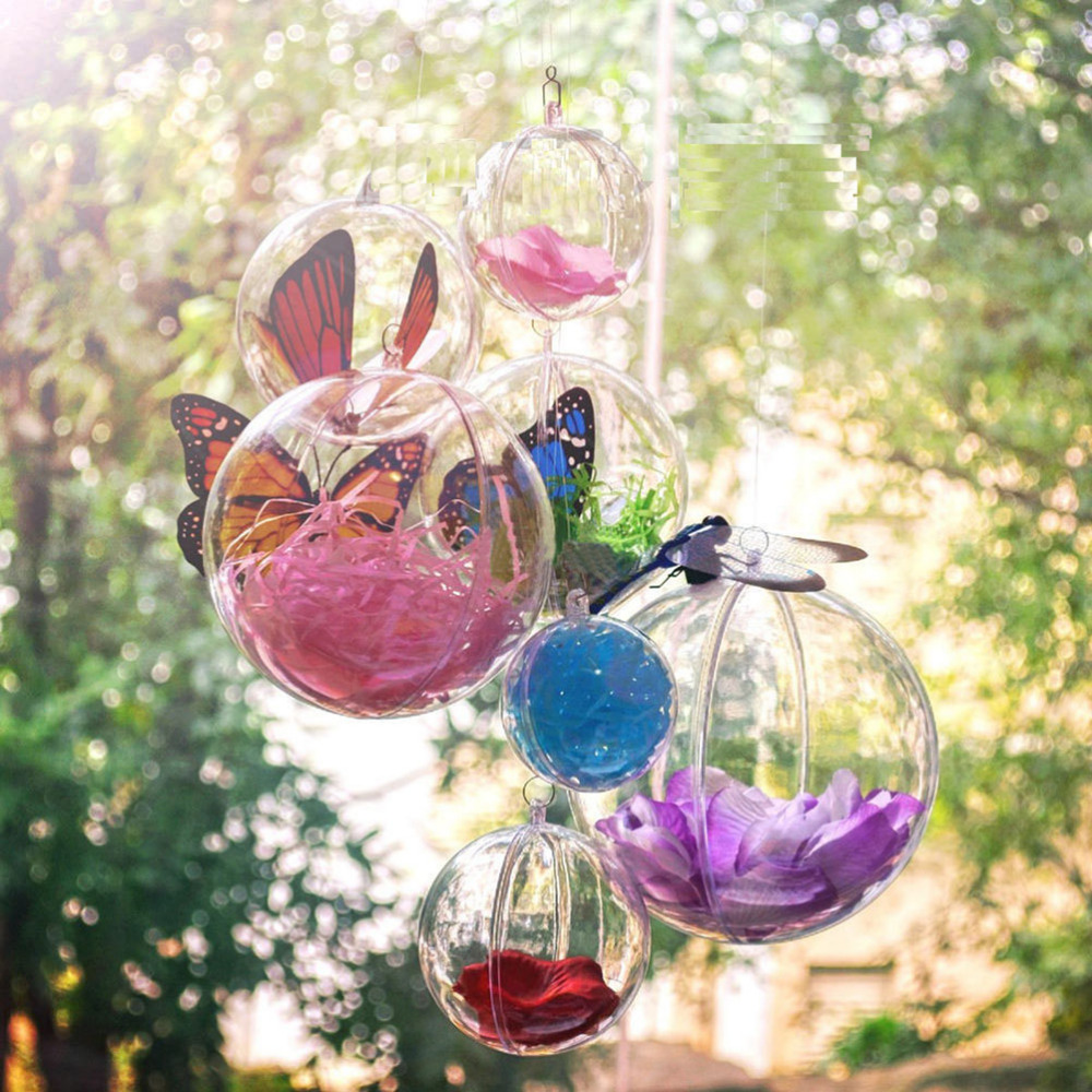 10pcs Christmas Tree Decor Ornament 4cm Ball Type Box Transparent Plastic  Craft Christmas Gift Boxes Transparent Plastic Ball