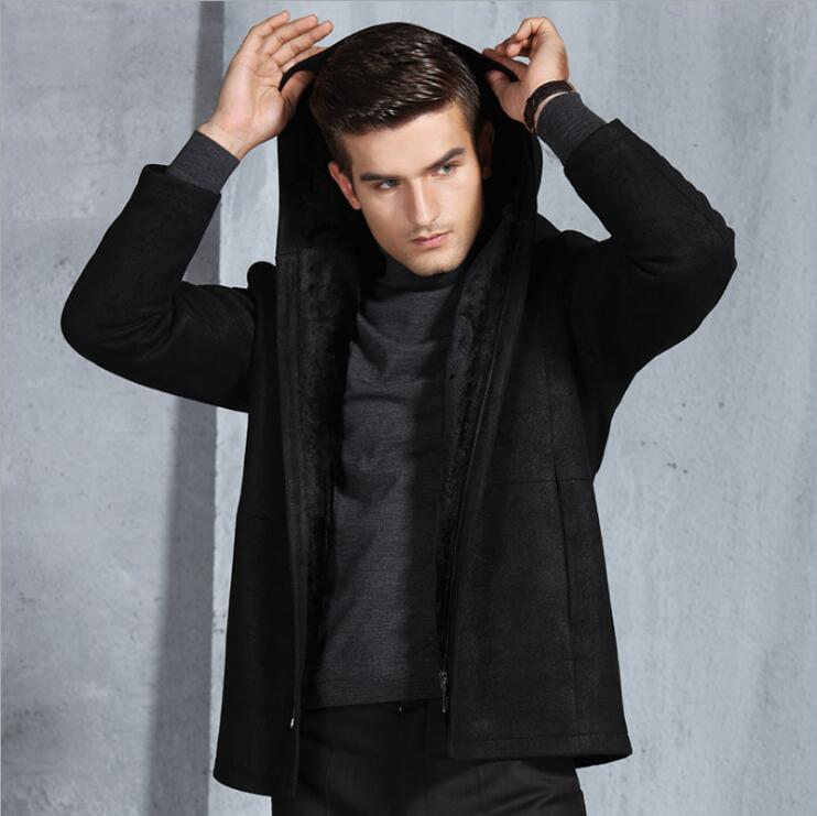 Winter new Men's Hooded men's Business Casual zipper Long Fur coat Male Fashion Korean warm Thick Velvet jackets Men Windproof
