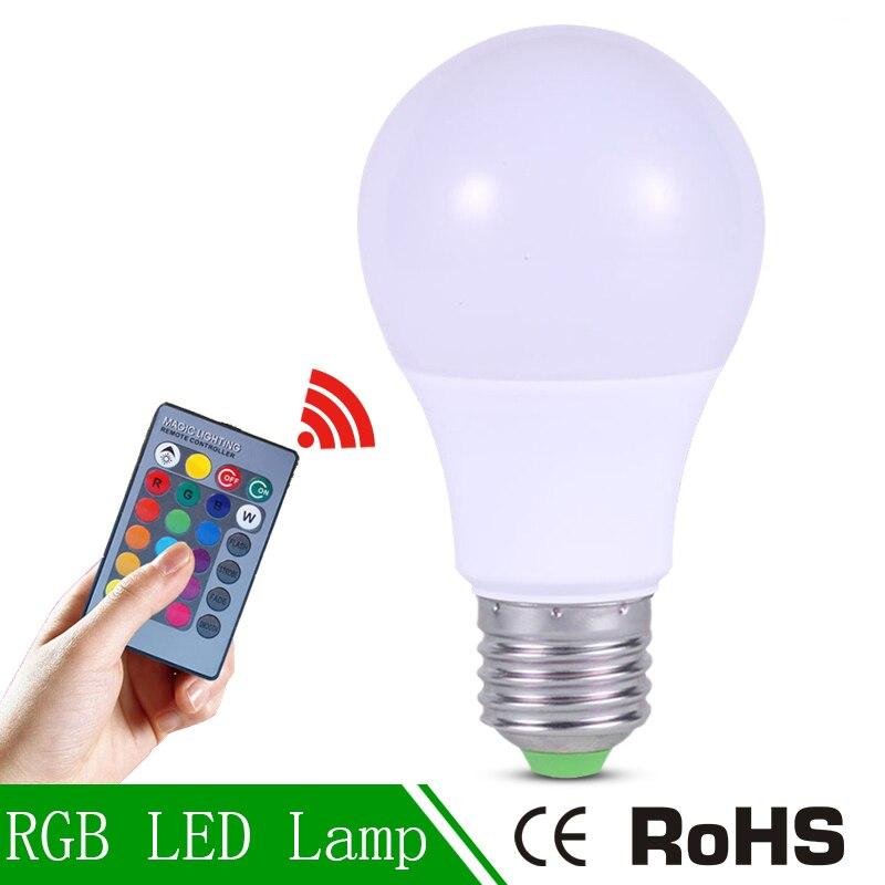 RGB LED Lampada 3W LED Lamp 220V Mini High Power Lampada Colorful With Remote Controller E27     -> Lampada Led Rgb